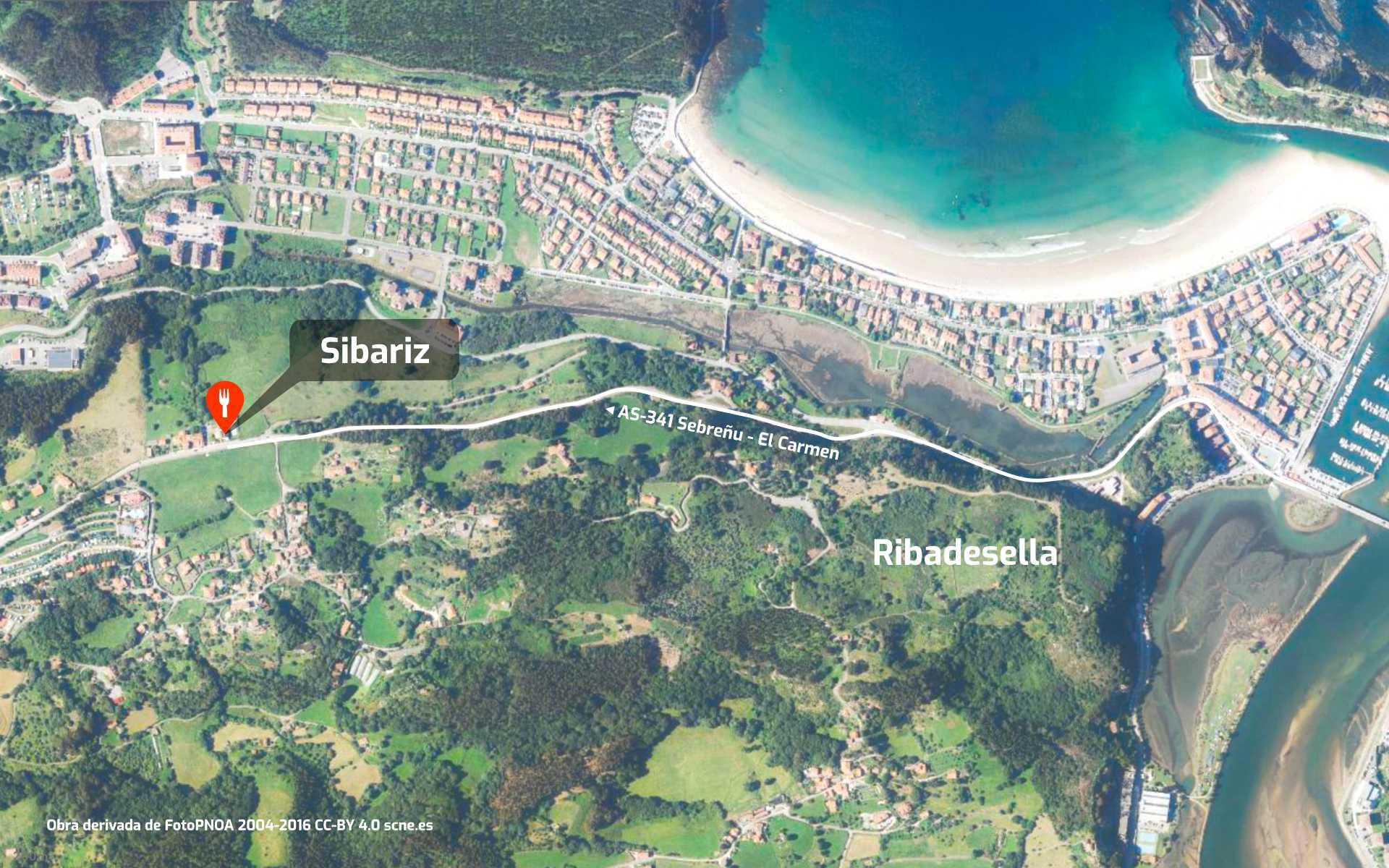 Mapa de cómo llegar al restaurante Sibariz en Ribadesella, Asturias