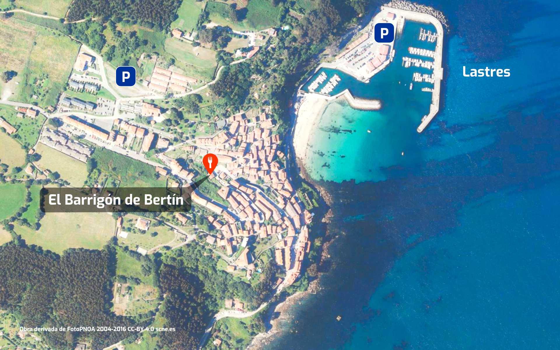 Mapa de cómo llegar al restaurante El Barrigón de Bertin en Lastres, Colunga, Asturias.