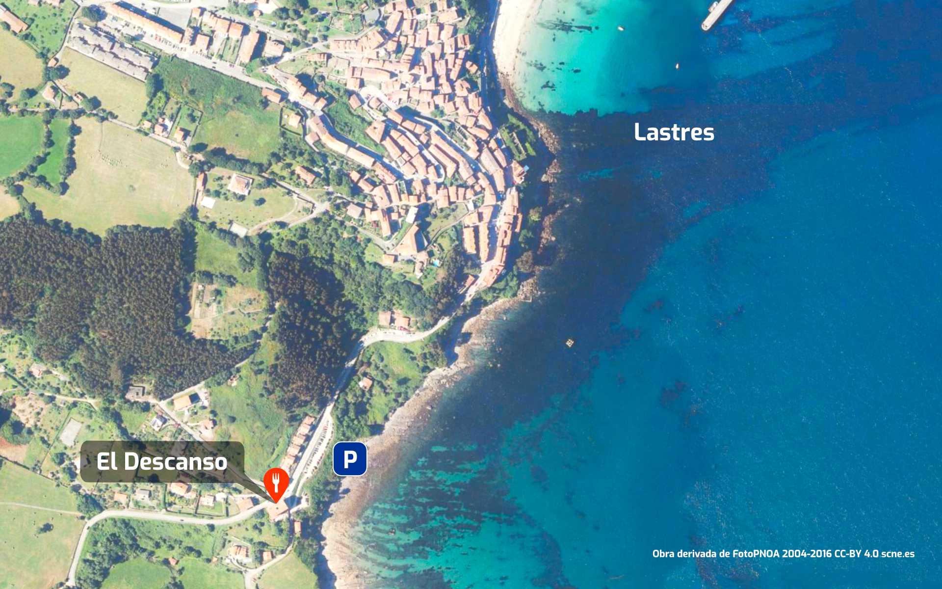 Mapa cómo llegar al restaurante Bar El Descanso en Lastres, Colunga, Asturias.