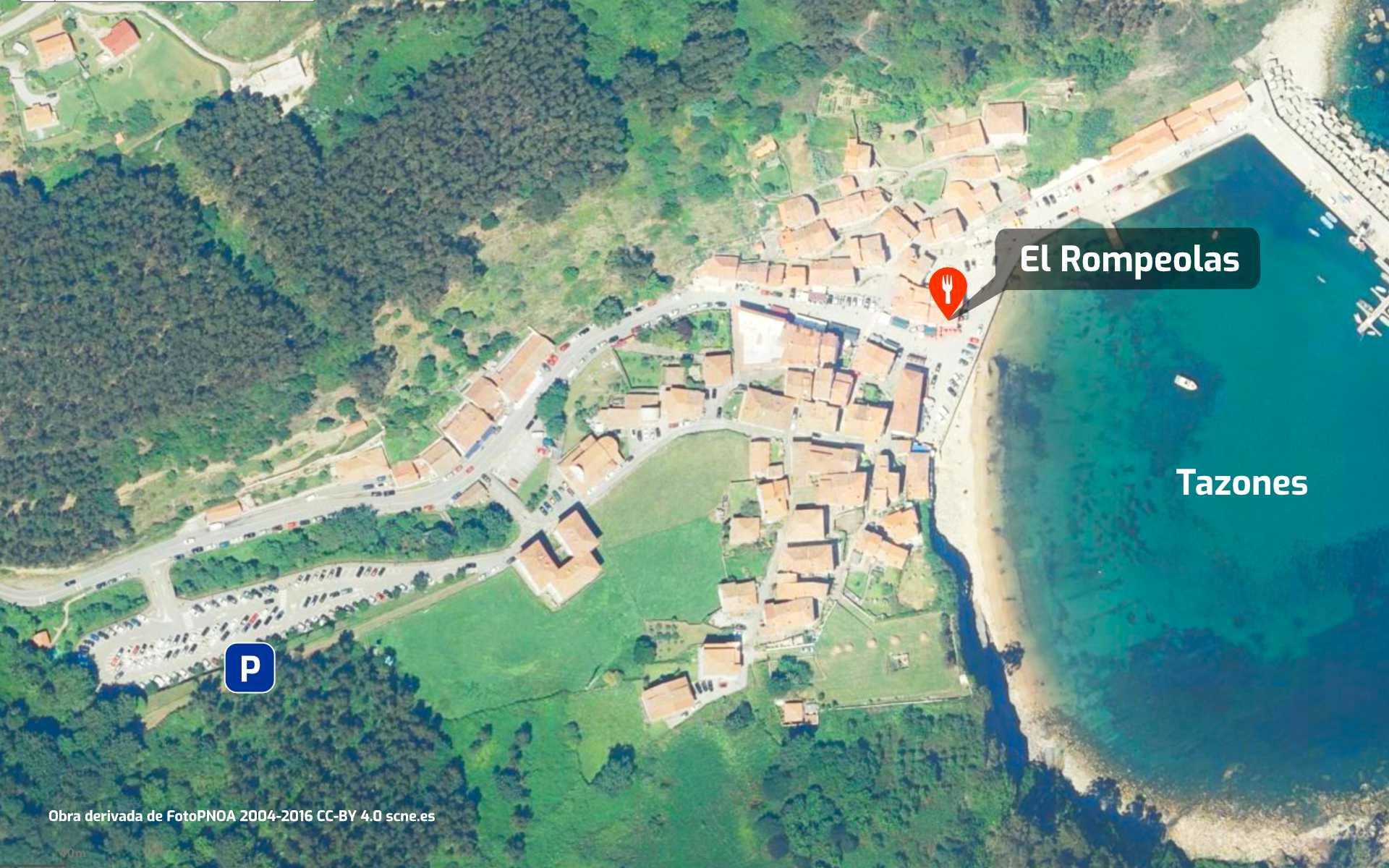 Mapa de cómo llegar al restaurante El Rompeolas de Tazones, Asturias