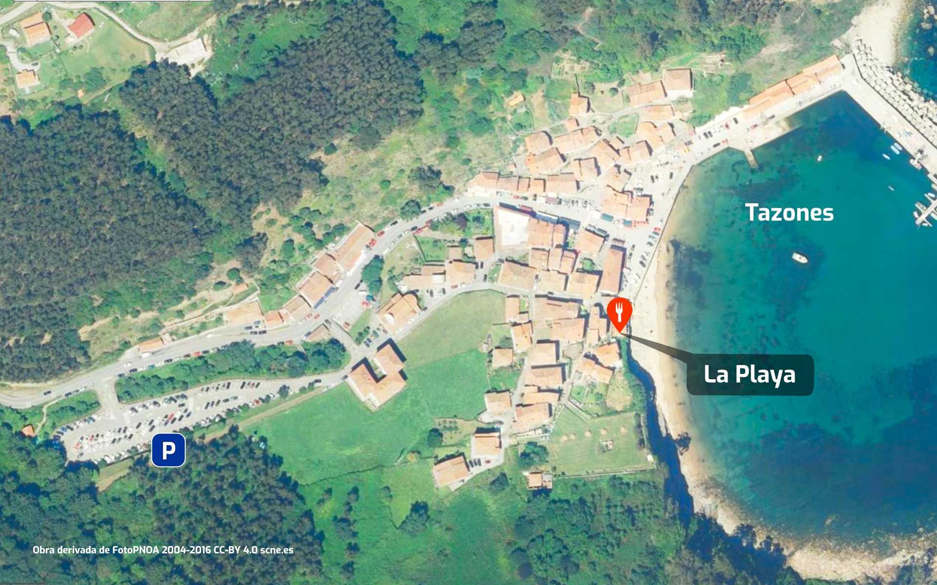 Mapa de cómo llegar al restaurante La Playa en Tazones, Asturias