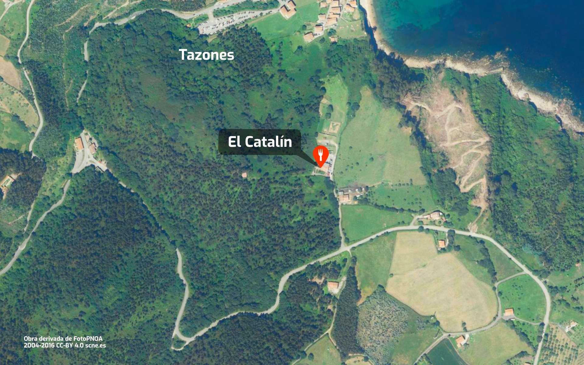 Mapa de cómo llegar al restaurante El Catalín en Tazones, Asturias.
