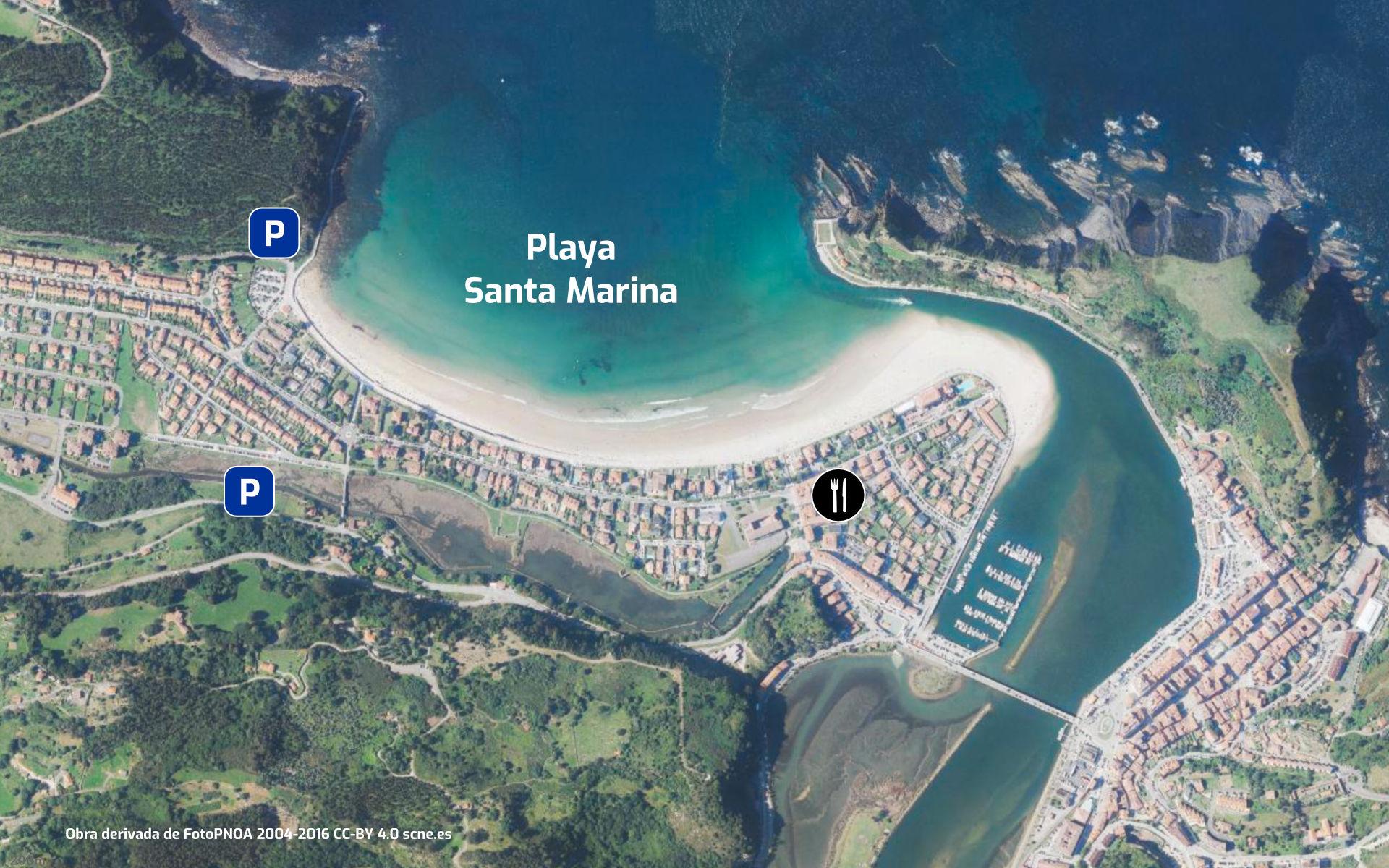 Mapa de ubicación y servicios de la Playa de Santa Marina en Ribadesella, Asturias
