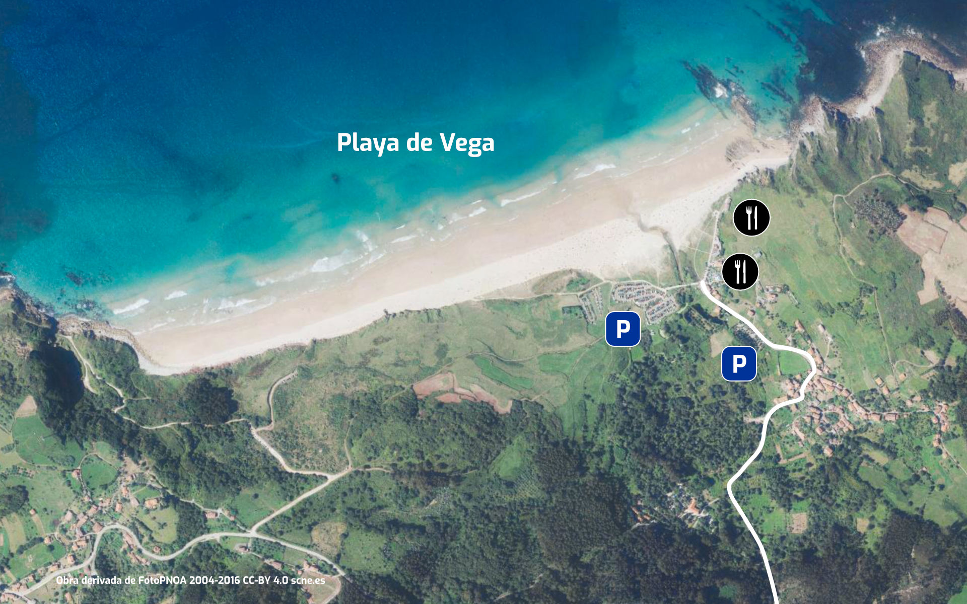 Mapa de la Playa de Vega en Ribadesella, Asturias