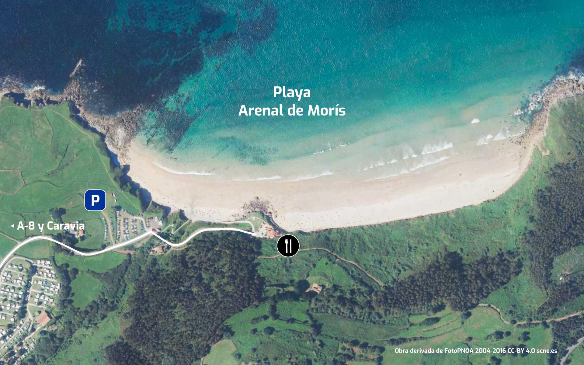 Mapa de cómo llegar a la Playa del Arenal de Morís en Caravia, Asturias