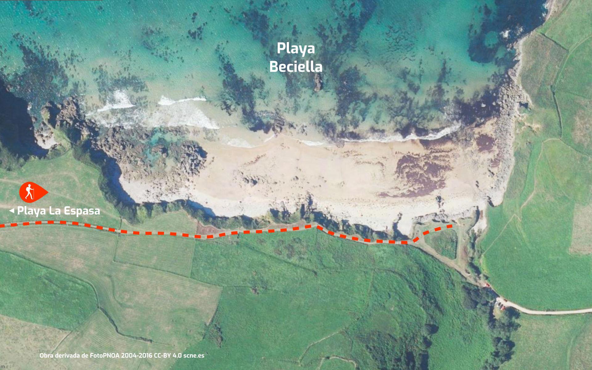 Mapa de cómo llegar a la Playa de La Beciella en Caravia, Asturias.