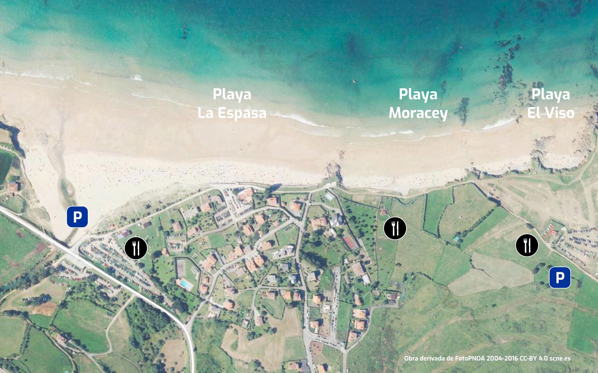 Mapa de la Playa de La Espasa y sus servicios.