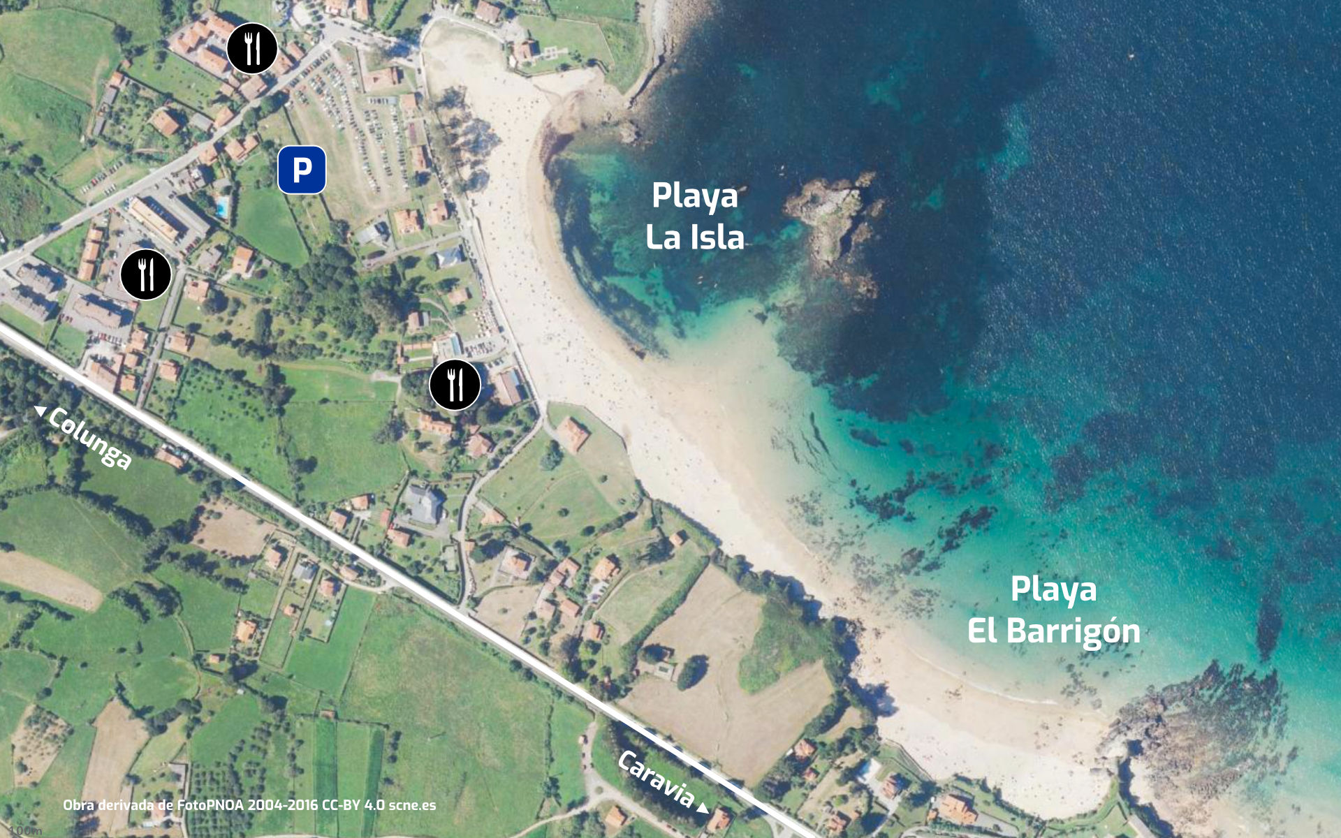 Mapa de las playas de La Isla y El Barrigón en Colunga, Asturias