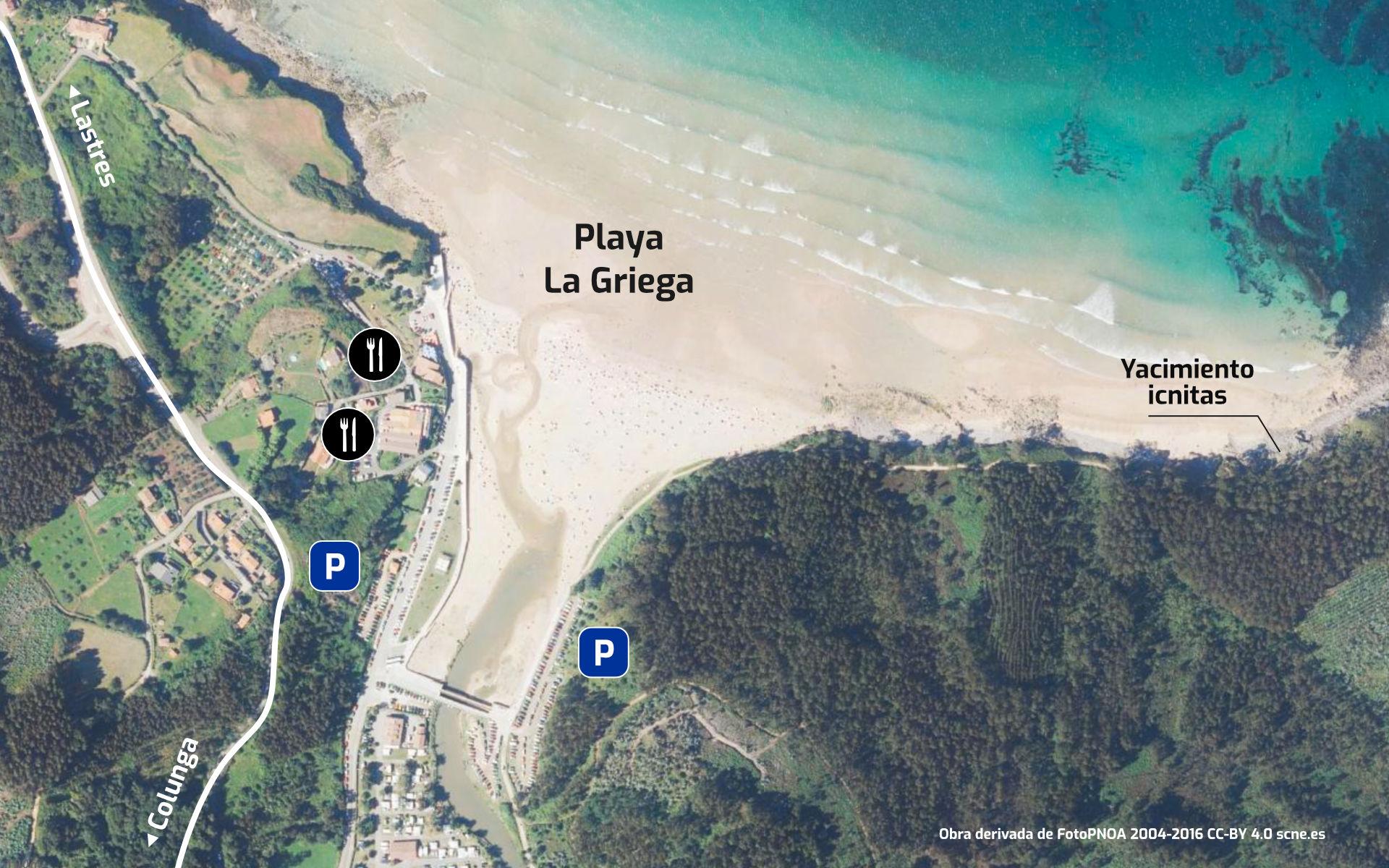 Mapa de la Playa de La Griega con servicios, en Colunga, Asturias