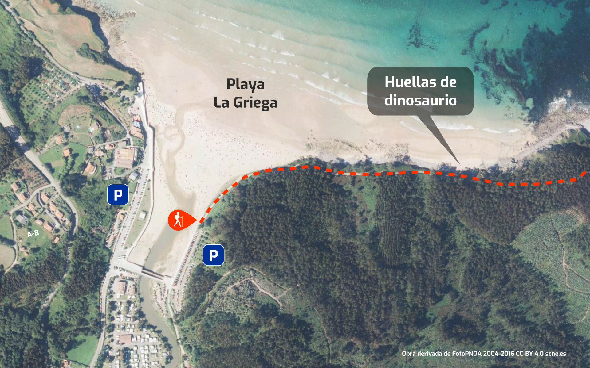 Mapa recorrido de la Senda Costera al salir de Playa de La Griega (Colunga) hacia Arenal de Morís (Caravia), en Asturias