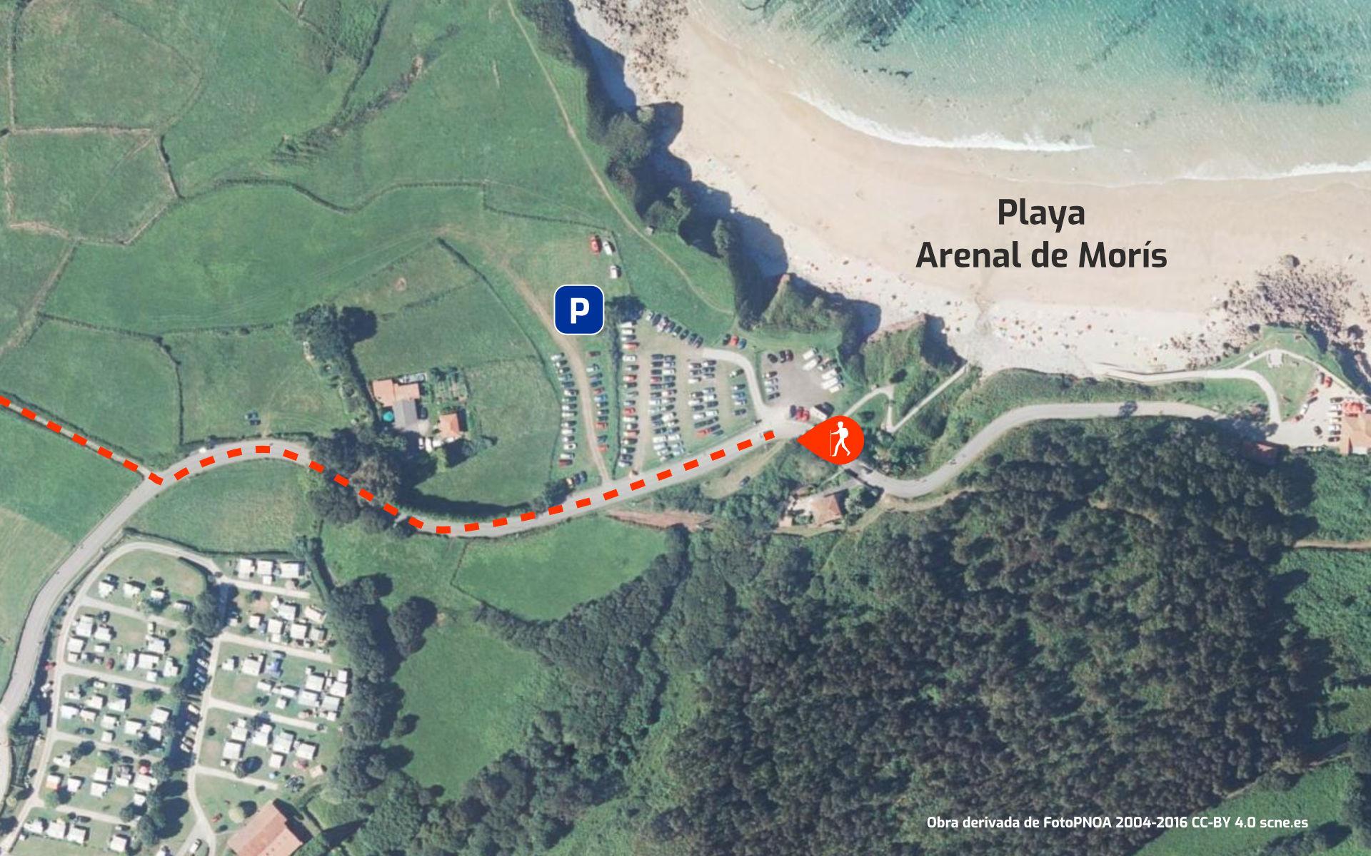 Mapa recorrido de la Senda Costera entre desde el Arenal de Morís (Caravia) hacia Playa de La Griega (Colunga), en Asturias