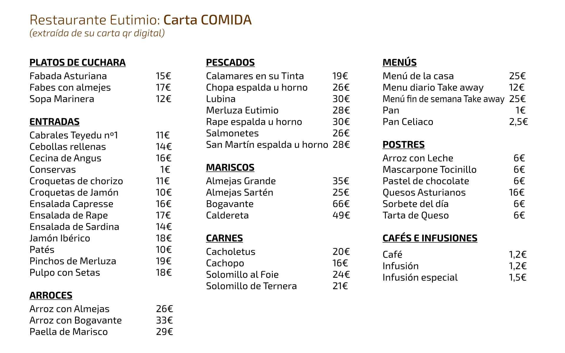 Carta del restaurante Eutimio en Lastres, Colunga, Asturias