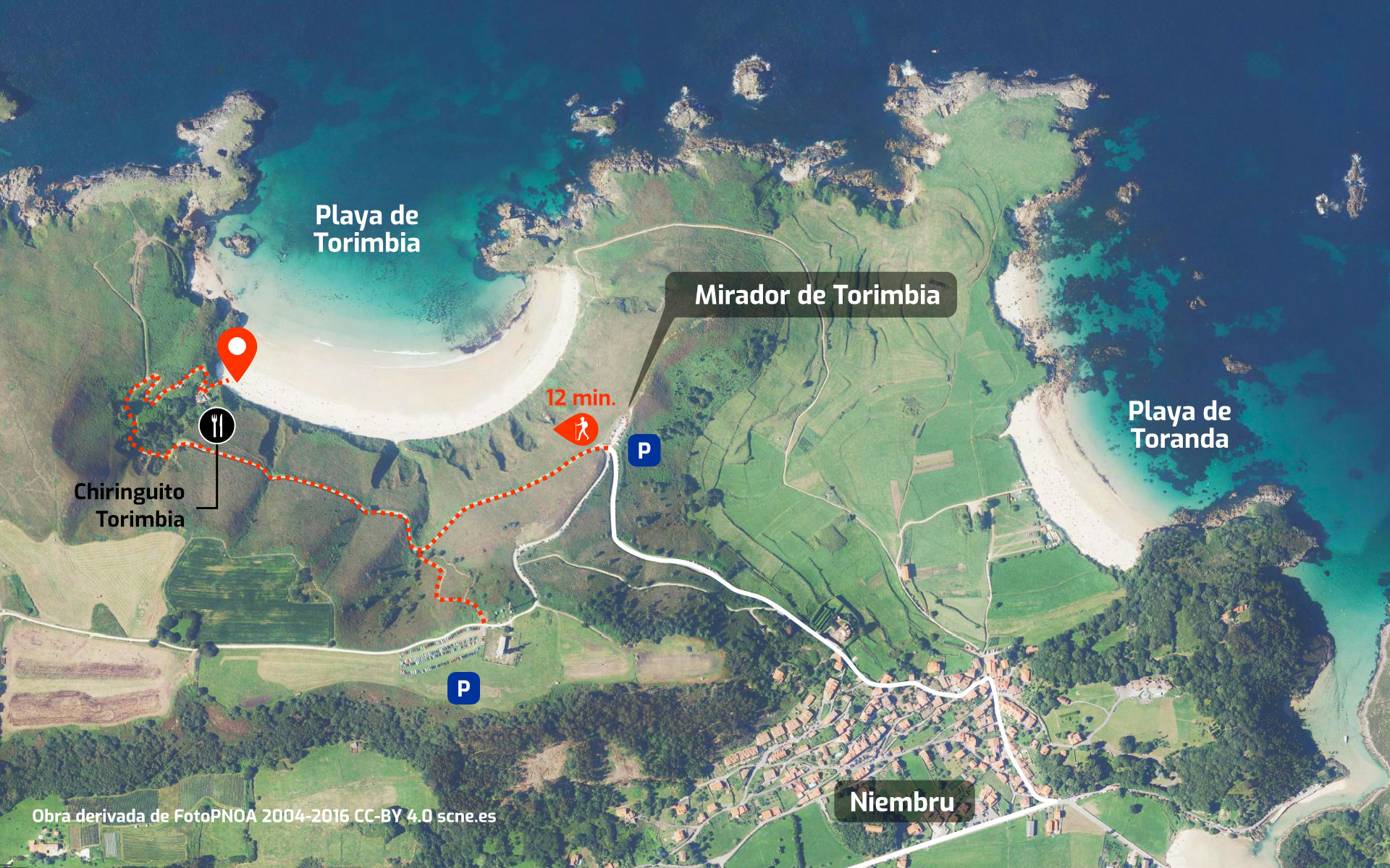 Mapa de cómo llegar a la Playa de Torimbia, en Niembro, Llanes, Asturias