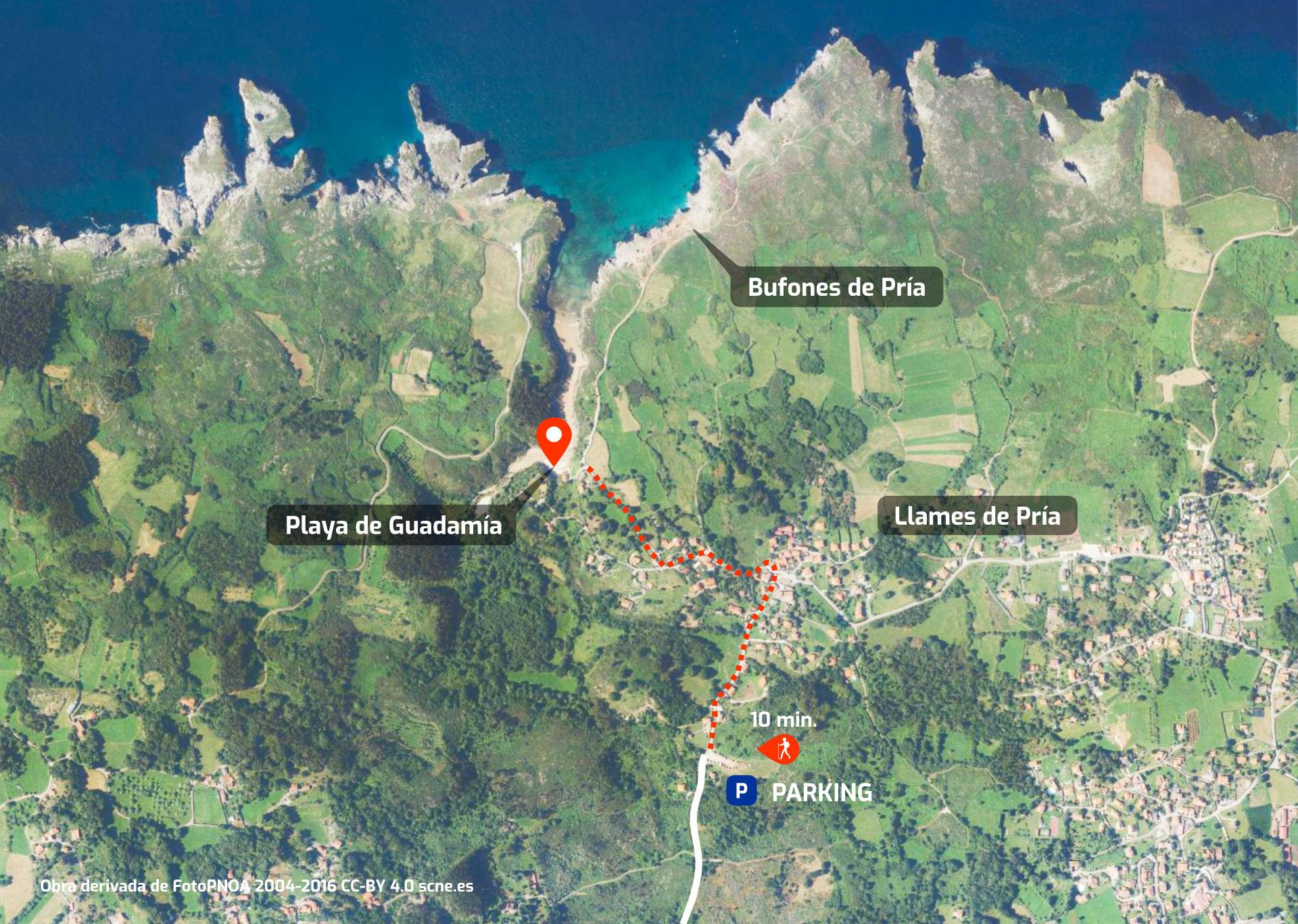 Mapa de cómo llegar a la Playa de Guadamía, en Llanes, Asturias
