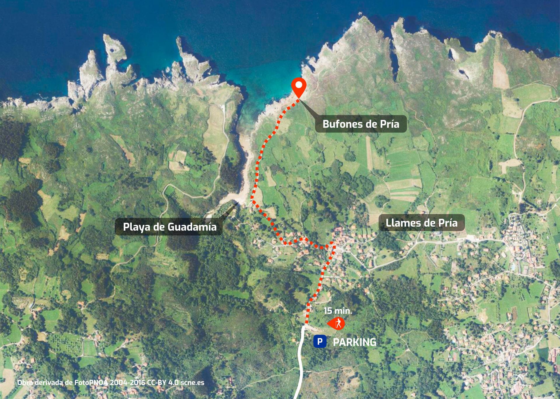 Mapa de cómo llegar a los Bufones de Pría, Llanes, Asturias