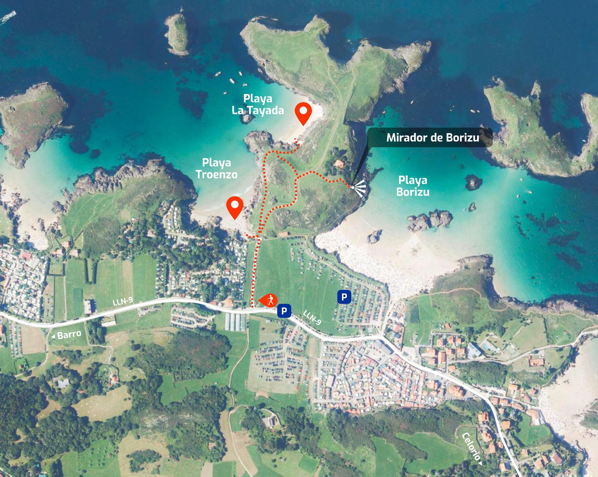 Mapa de cómo llegar a las playas de Troenzo y La Tayada en Celorio, Llanes, Asturias