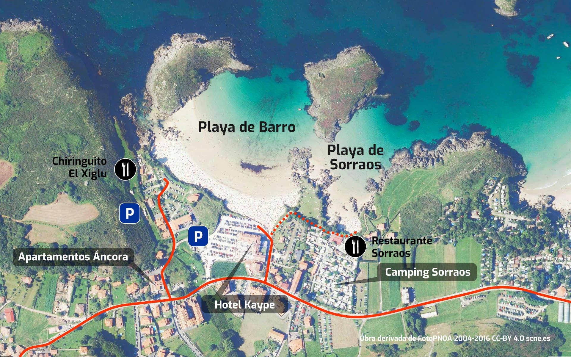 Mapa de cómo llegar a las Playas de Barro y Sorraos en Llanes, Asturias
