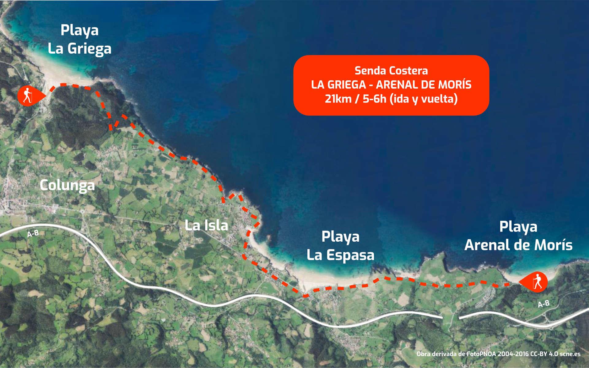 Mapa recorrido de la Senda Costera entre Playa de La Griega (Colunga) y Arenal de Morís (Caravia), en Asturias