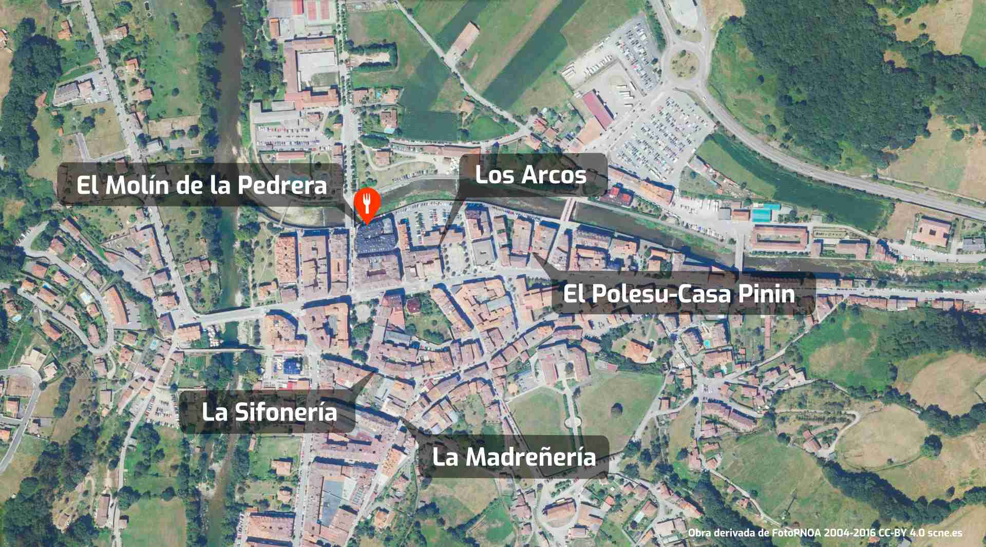 Mapa de cómo llegar al restaurante El Molín de la Pedrera en Cangas de Onís, Asturias