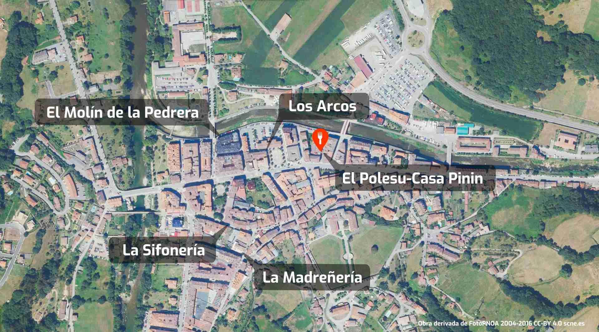 Mapa de cómo llegar al restaurante El Polesu Casa Pinin en Cangas de Onís, Asturias