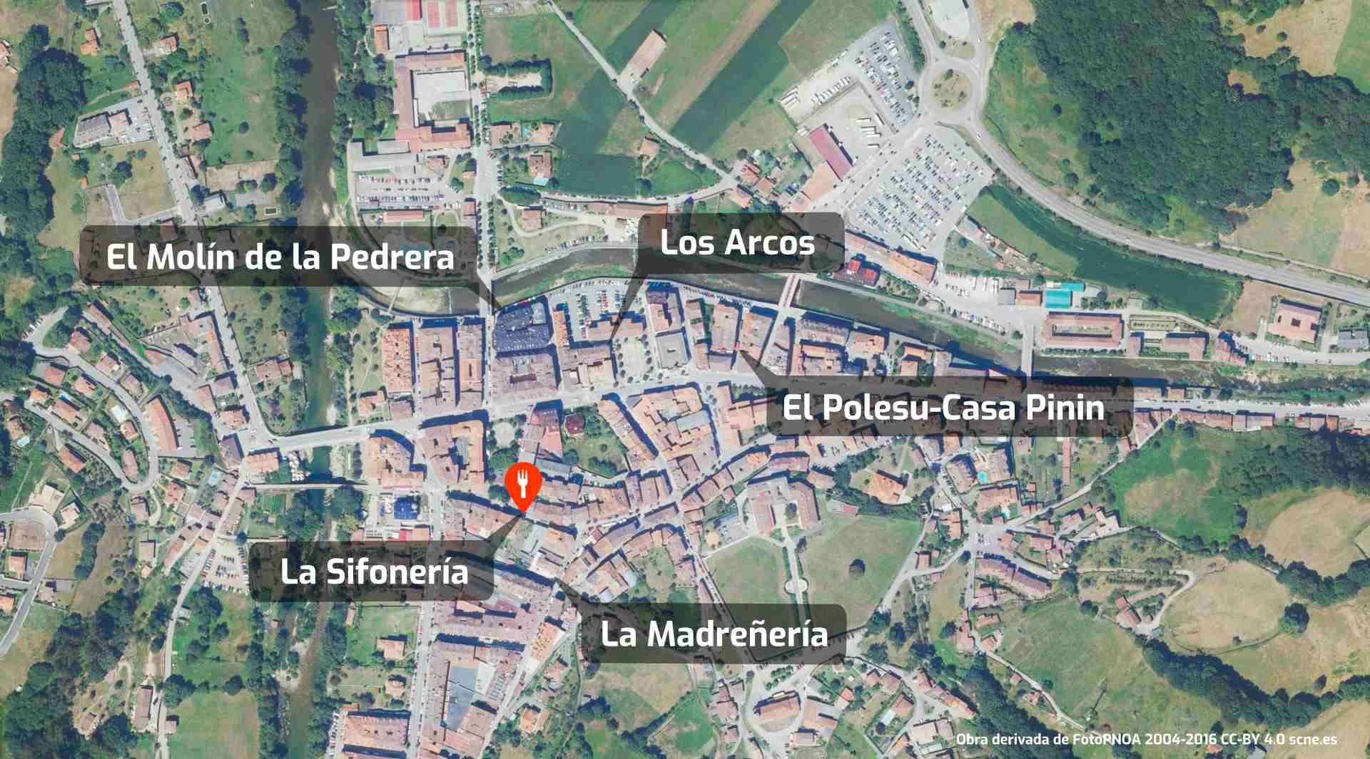 Mapa de cómo llegar al restaurante sidrería La Sifonería, Cangas de Onís, Asturias