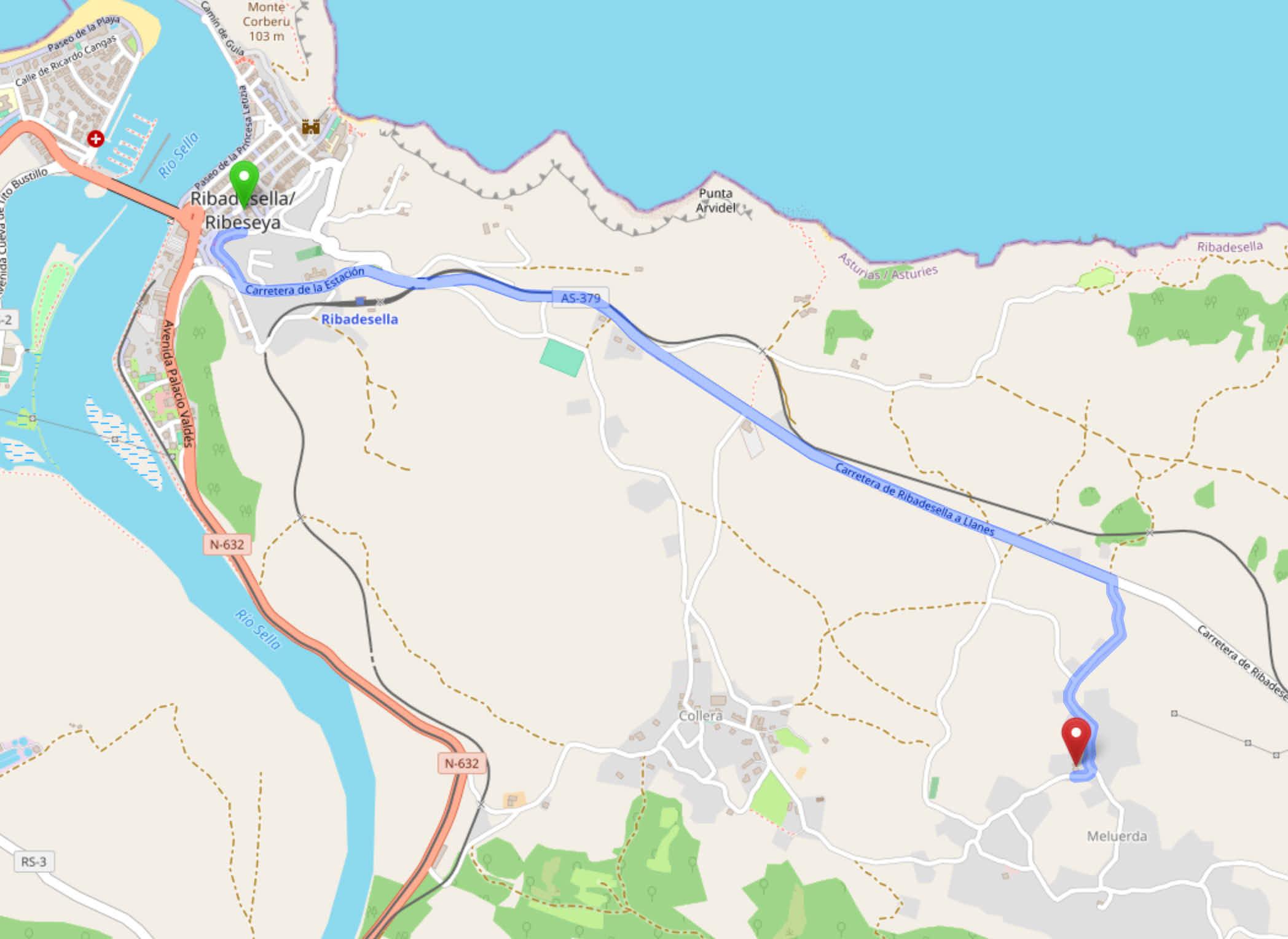 Mapa de cómo llegar al restaurante Sidrería El Texu, en Meluerda, desde Ribadesella, Asturias
