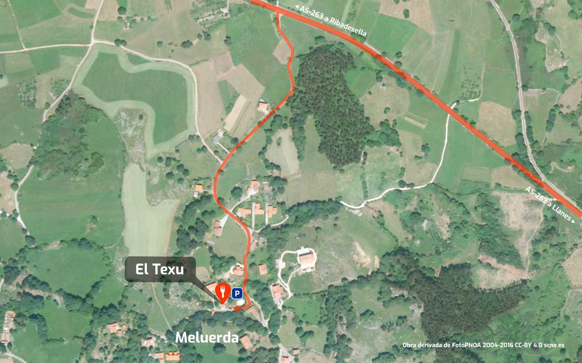 Mapa de cómo llegar al restaurante Sidrería El Texu en Meluerda, Ribadesella, Asturias.