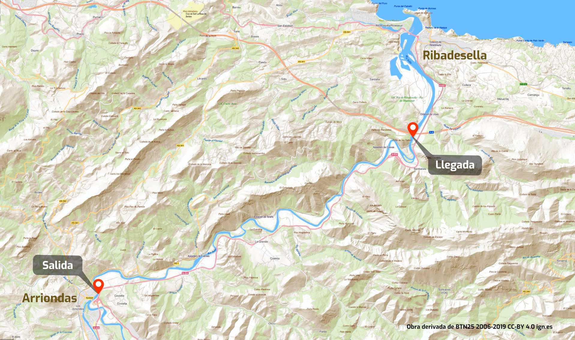 Mapa con el recorrido del descenso del río Sella entre Arriondas y Ribadesella, Asturias