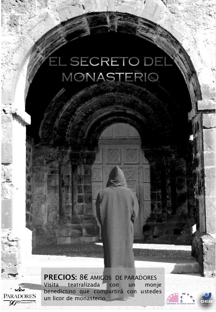 Cartel de la visita teatralizada El Secreto del Monasterio de San Pedro de Villanueva, Parador Nacional de Cangas de Onís, Asturias