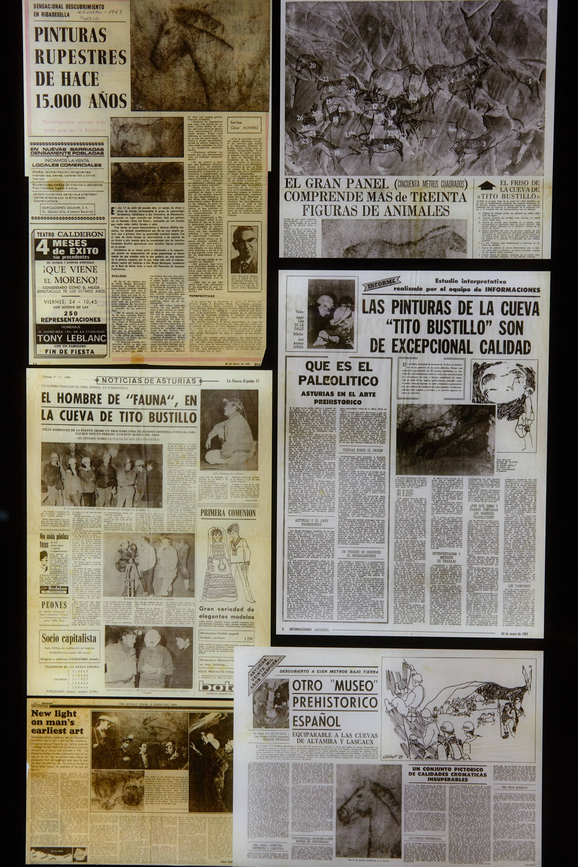 Apariciones en prensa del descubrimiento de la Cueva Tito Bustillo en Ribadesella, Asturias