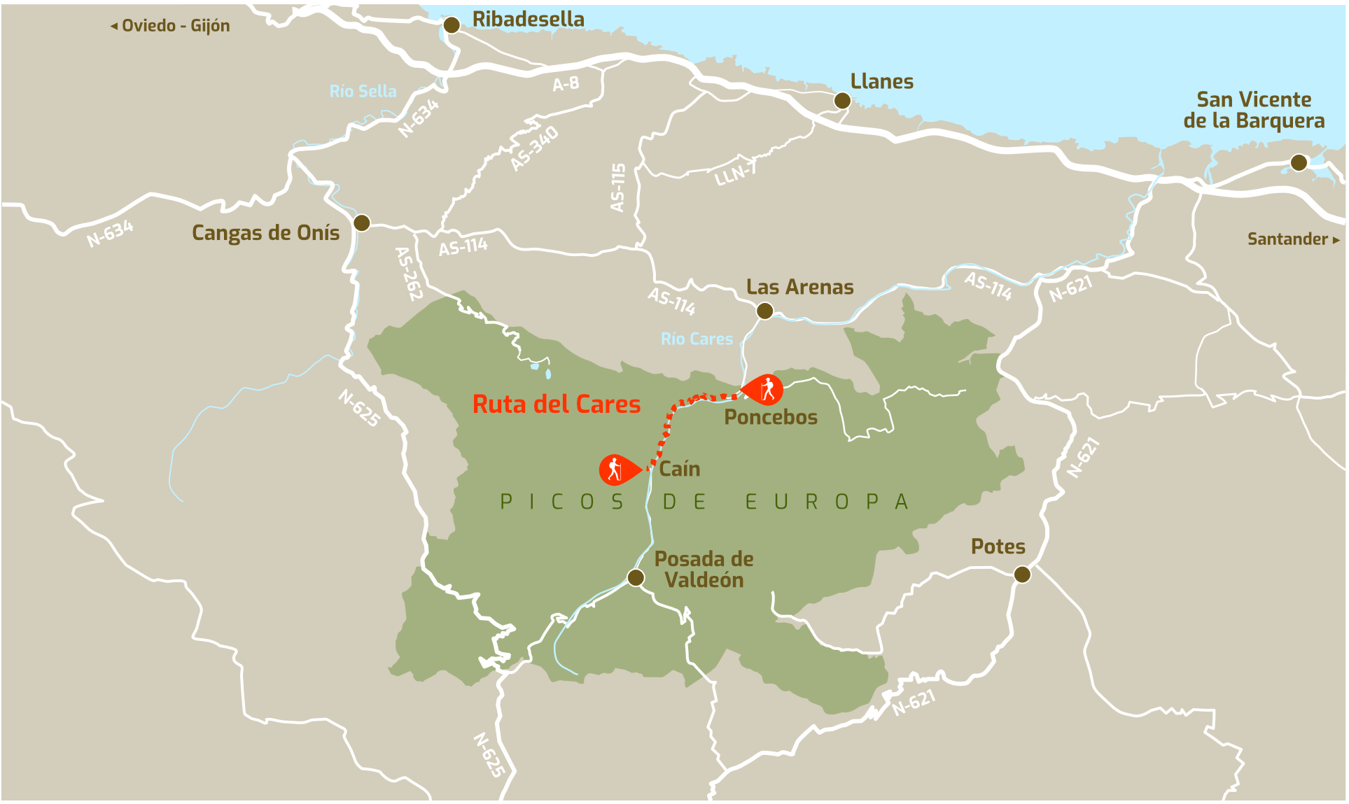 Mapa de la ubicación de la Ruta del Cares entre Poncebos (Asturias) y Cain (León)