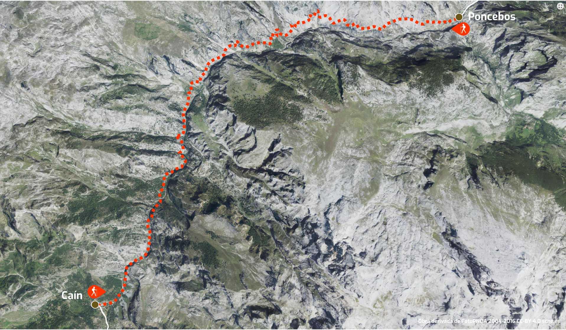 Mapa del itinerario de la Ruta o Senda del Cares entre Poncebos (Asturias) y Cain (León)