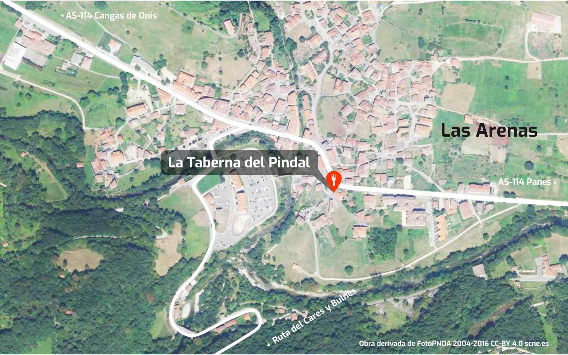 Mapa de cómo llegar al restaurante La Taberna del Pindal, en Las Arenas de Cabrales, Asturias