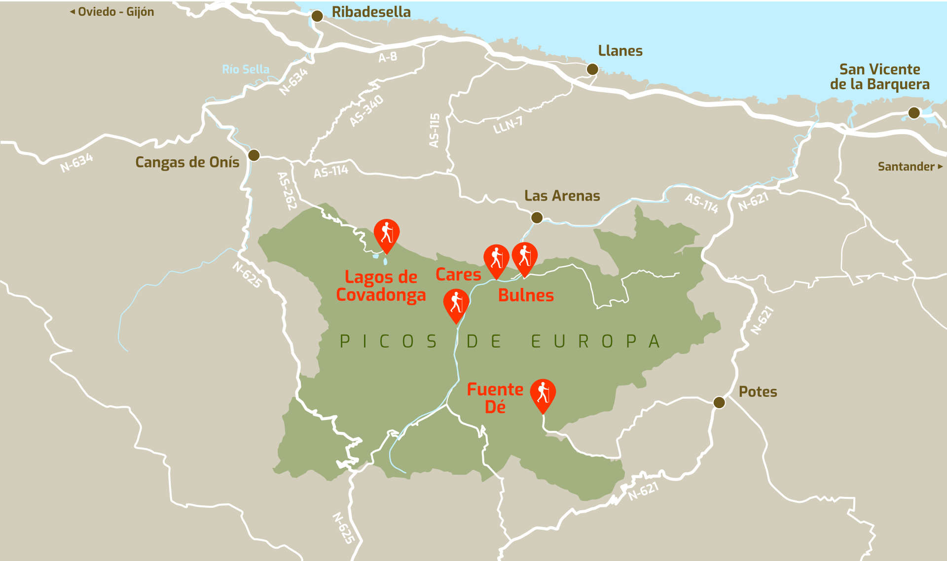 Mapa con las mejores rutas de senderismo en Picos de Europa (Asturias, Cantabria y León)