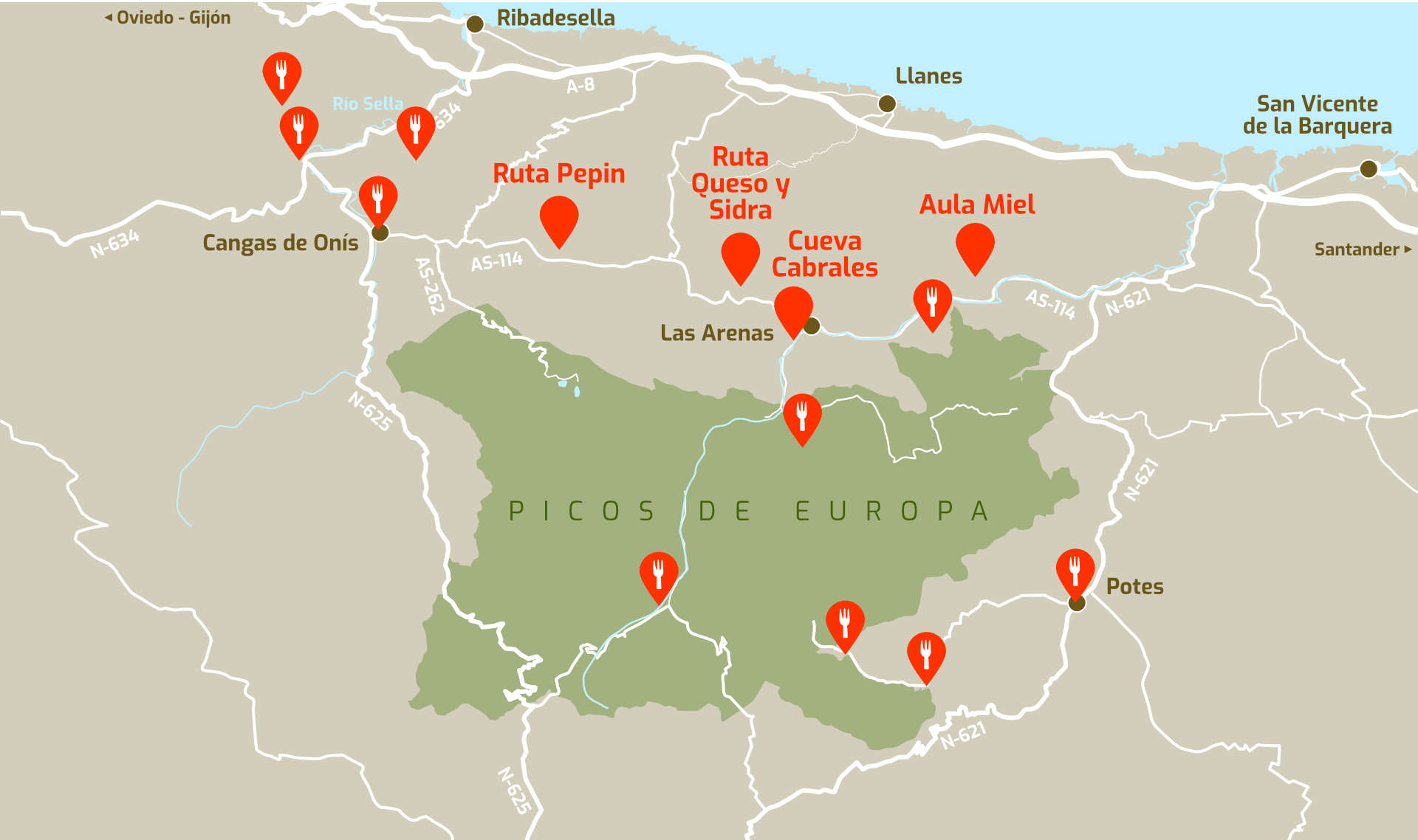 Mapa rutas gastronómicas en Picos de Europa
