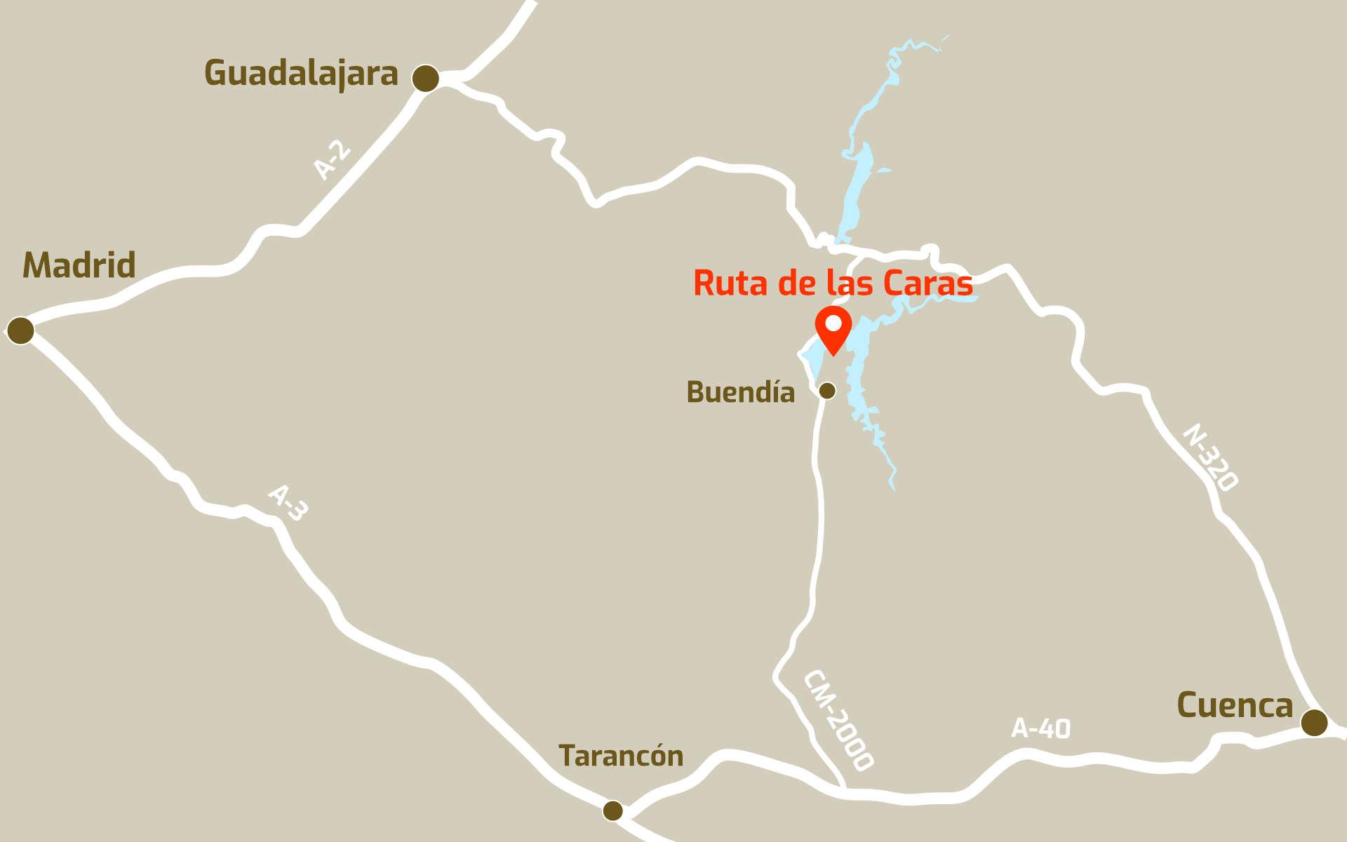Mapa de ubicación de la Ruta de las Caras, en Buendía, Cuenca, Castilla La Mancha