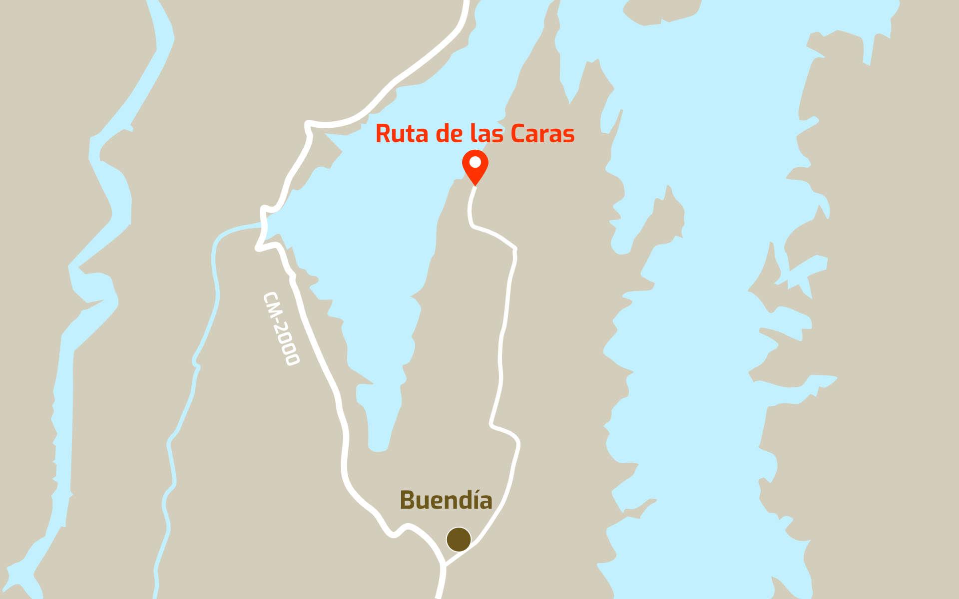 Mapa de cómo llegar a la Ruta de las Caras desde Buendía