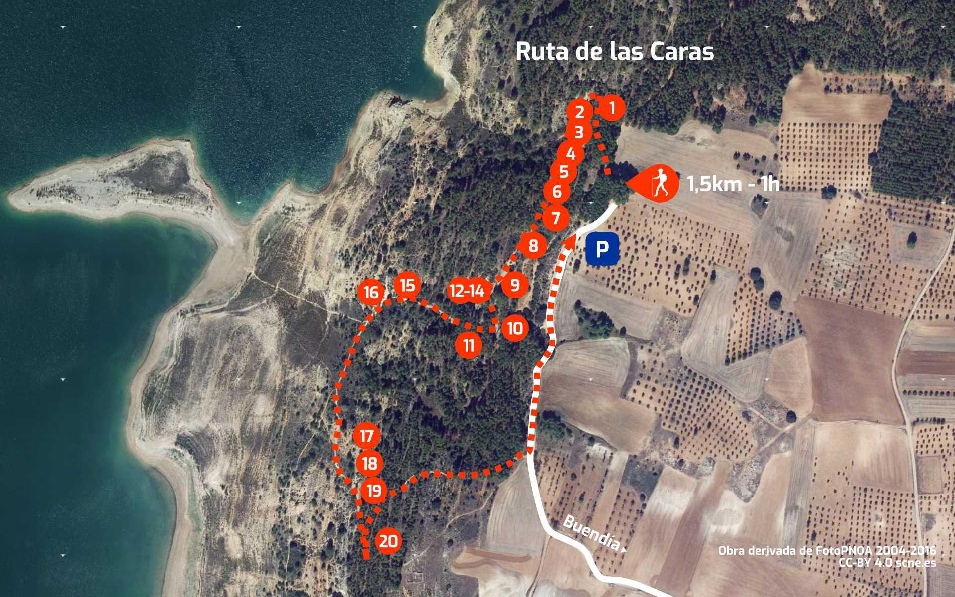 Mapa del recorrido de la Ruta de las Caras, en Buendía, Cuenca, Castilla La Mancha.
