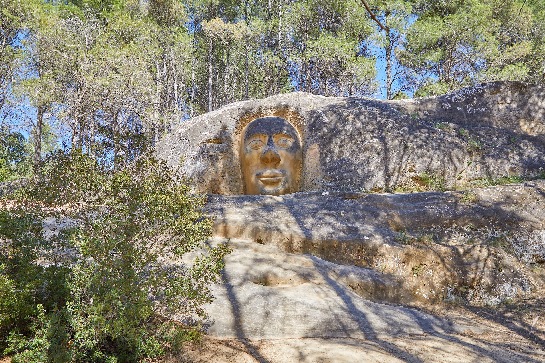Escultura Chamán, en la Ruta de las Caras, Buendía, Cuenca, Castilla La Mancha