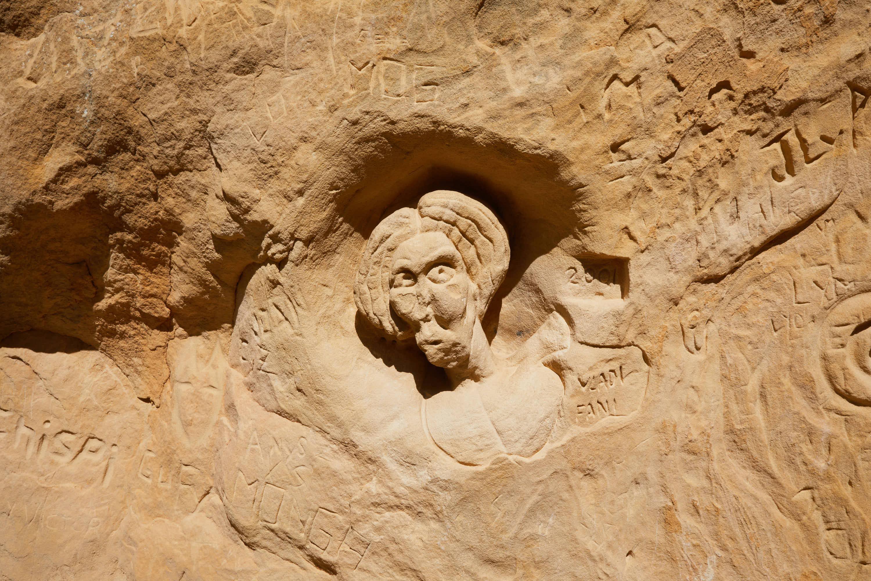 Escultura en la Ruta de las Caras, Buendía, Cuenca, Castilla La Mancha