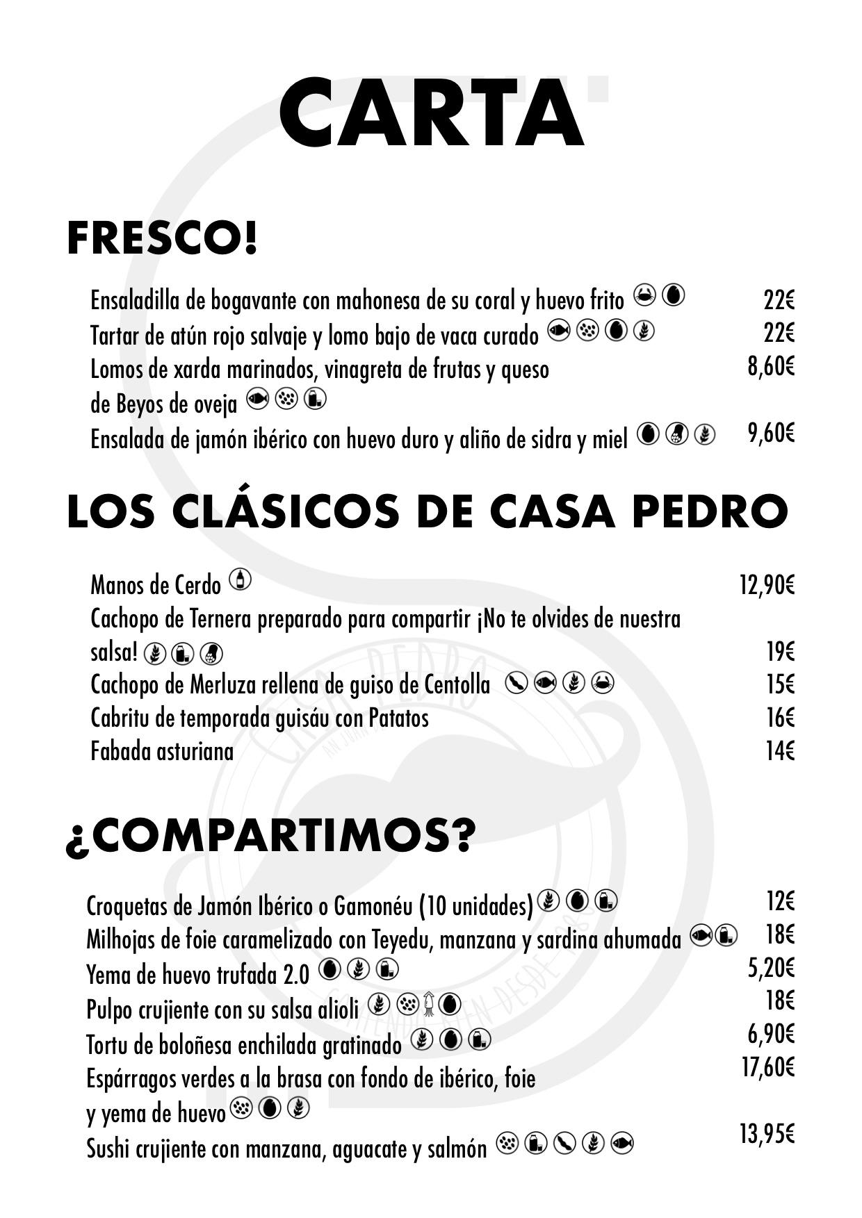 Restaurante Casa Pedro Parres Cangas de Onís Carta con precios Entradas