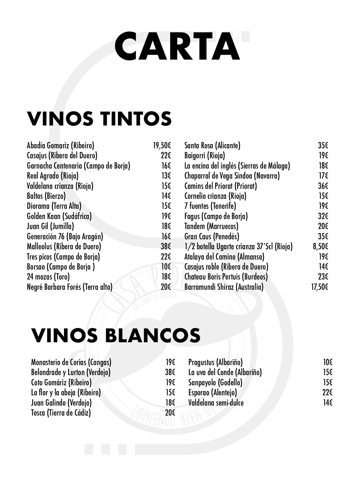 Restaurante Casa Pedro Parres Cangas de Onís Carta con precios Vinos tintos y blancos