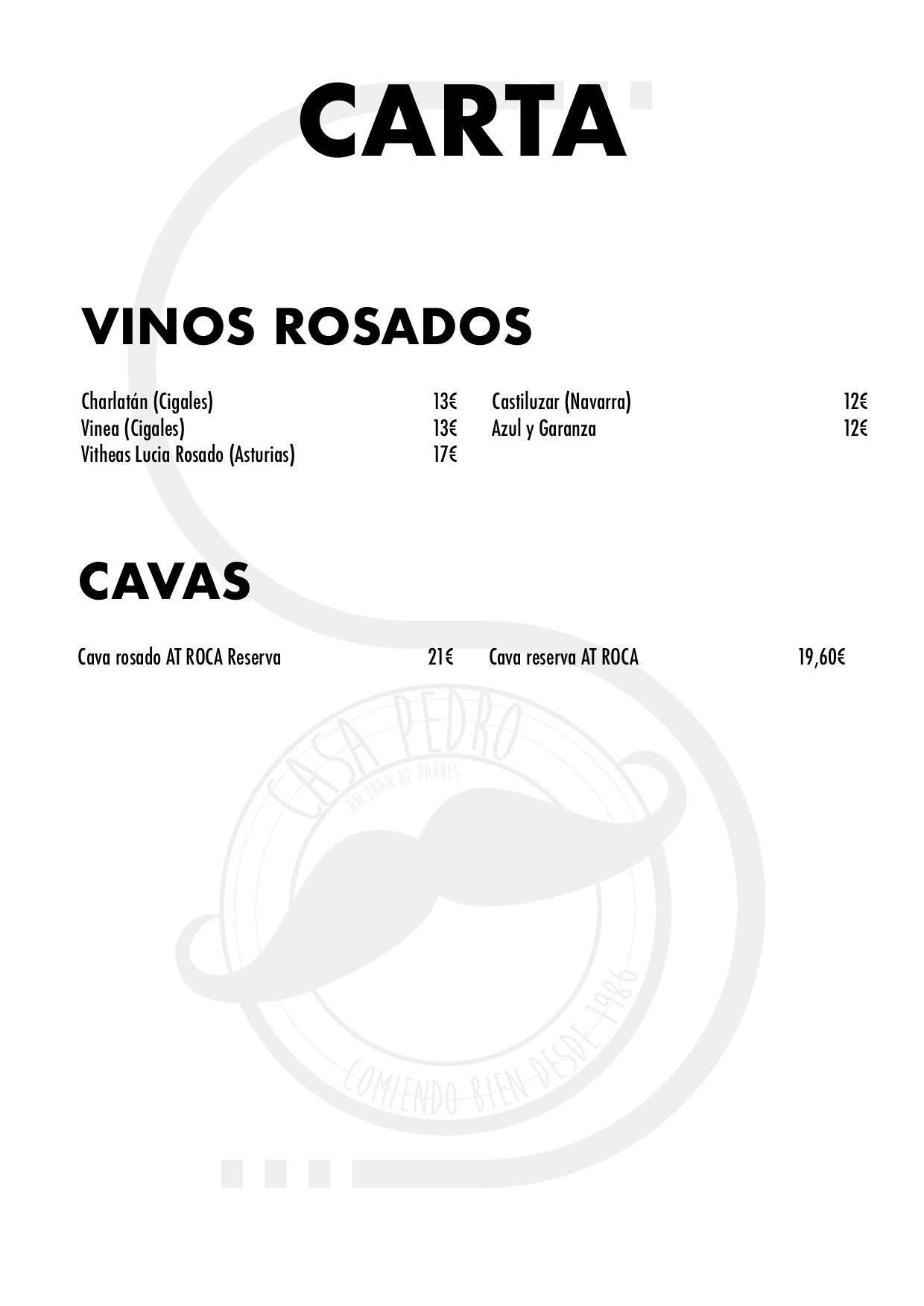 Restaurante Casa Pedro Parres Cangas de Onís Carta con precios vinos rosados y cavas