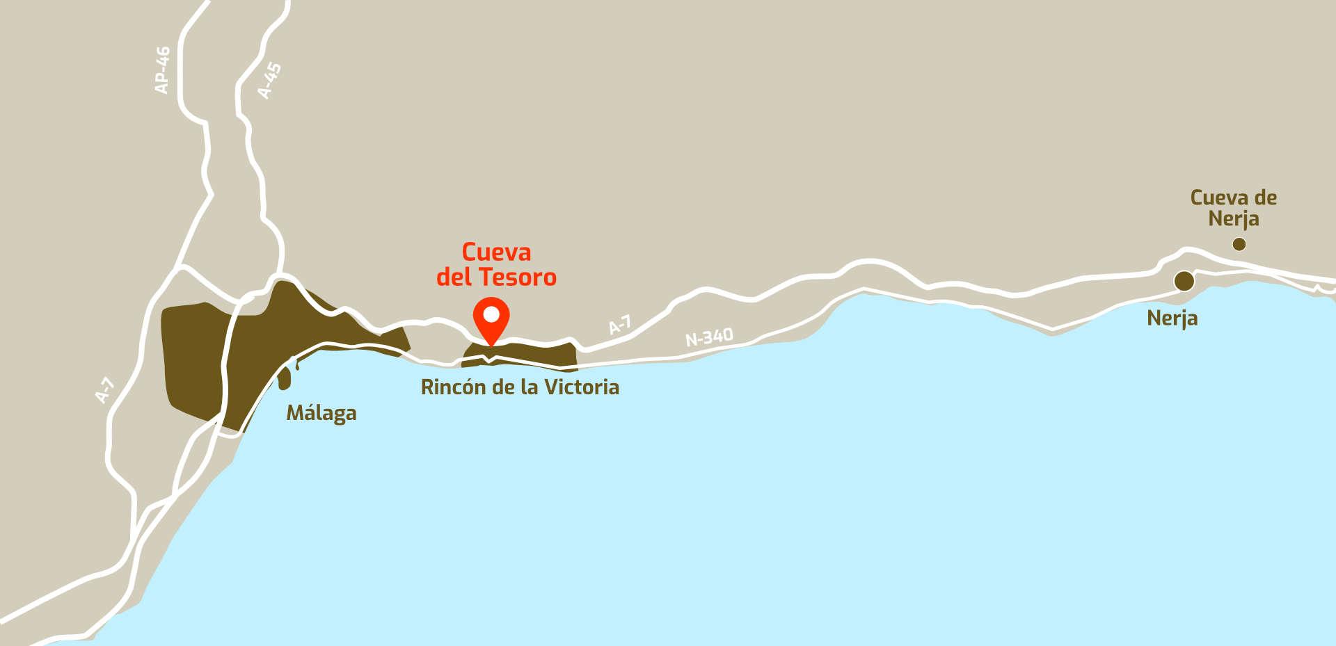 Mapa de cómo llegar a la Cueva del Tesoro, en Rincón de la Victoria, Málaga, Andalucía.