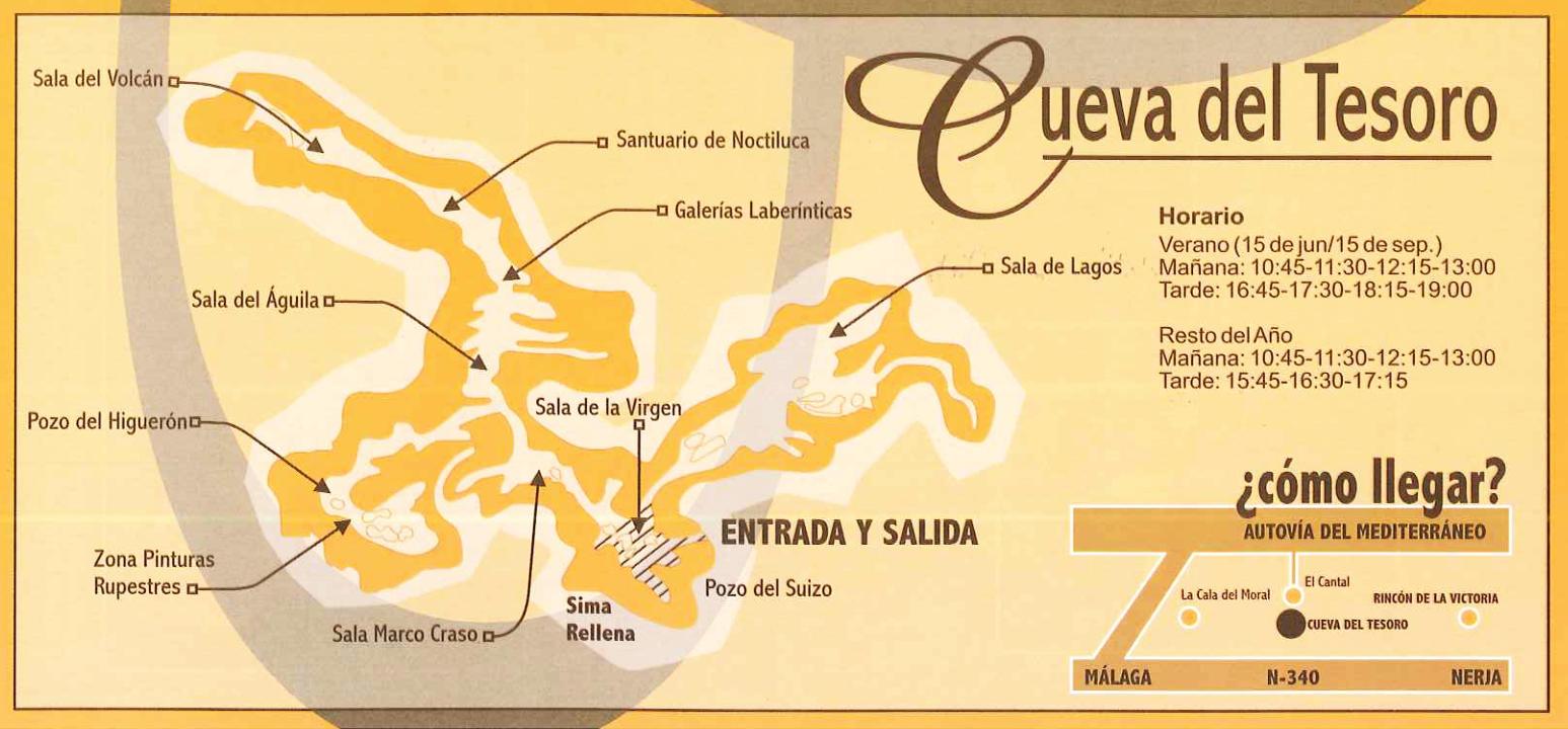 Plano de la Cueva del Tesoro en Rincon de la Victoria, Malaga, Andalucia, España