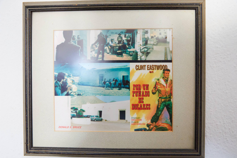 Cartel y fotogramas de la pelicula Por un puñado de dolares, de Sergio Leone, con Clint Eastwood, rodada en el Hotel Cortijo El Sotillo en SanJose, Cabo de Gata, Nijar, Almeria, Andalucia