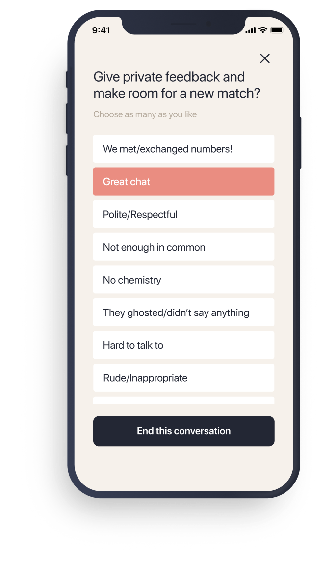 elate dating app feedback feature