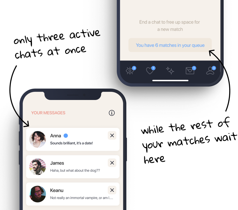 Elate is a dating app with just three chats at a time