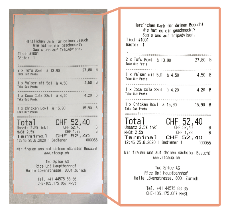 Image process step 1 - a receipt is shown and scanned to create an image