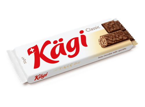 A Kagi classic chocolate wafer package